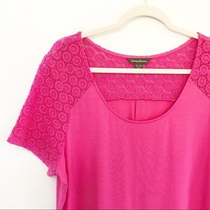Tommy Bahama Dresses - Tommy Bahama Hot Pink Midi Eyelet Trim Tee Dress